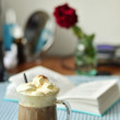 Stock Photo: Coffee with cream and book