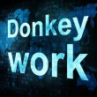 Business concept: pixelated words Donkey work on digital screen — Stock Photo