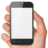 Hand holding smartphone on white background. Generic mobile smar — Stock Photo