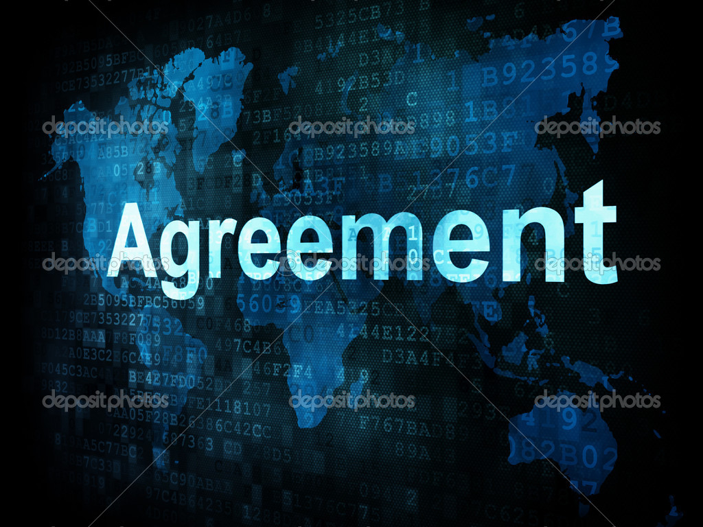 Business concept pixelated words Agreement on digital screen – Words of Agreement