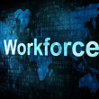 Stock Photo: Job, work concept: pixelated words Workforce on digital screen