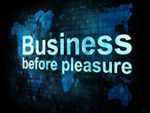 Job, work concept: pixelated words Business before pleasure on d — Foto de Stock