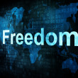 Life style concept: pixelated words Freedom on digital screen — Stock Photo #13886750