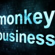 Life style concept: pixelated words monkey business on digital s — Stock Photo
