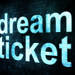 Life style concept: pixelated words dream ticket on digital scre — Stock Photo #13887482