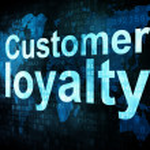 Marketing concept: pixelated words Customer loyalty on digital s — Stock Photo