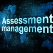 Management concept: pixelated words Assessment management on dig — Stock Photo