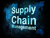 Marketing concept: pixelated words Supply Chain Management on di — Stok fotoğraf