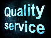 Marketing concept: pixelated words Quality service on digital sc — Stock Photo
