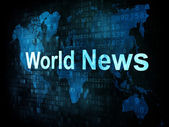 News and press concept: pixelated words World News on digital sc — Foto de Stock