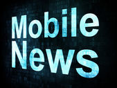 News and press concept: pixelated words Mobile News on digital s — Stok fotoğraf