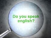 Lupe mit worten sprichst du englisch? — Stockfoto