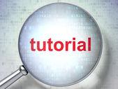 Lupa vidro óptico com tutorial de palavras sobre backgrou digital — Foto Stock