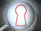 Magnifying optical glass with keyhole icon on digital background — ストック写真