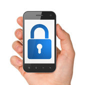 Hand holding smartphone with closed padlock on display. Generic — Stock Photo