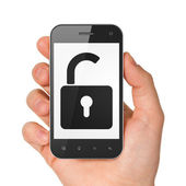 Hand holding smartphone with opened padlock — Stock Photo