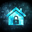 Foto Stock: Security concept: home on digital background