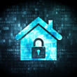 Foto de Stock  : Security concept: home on digital background