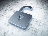 Silver opened padlock on digital background — Stockfoto