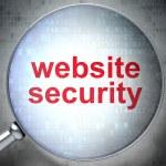 optické lupy s slova website zabezpečení na digitální — Stock fotografie