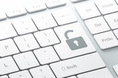 Enter button with opened padlock on computer keyboard — Stock Photo