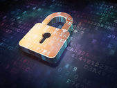 Security concept: Golden closed padlock on digital background — Stock Photo
