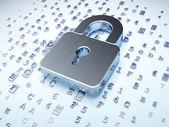 Concepto de seguridad: plata candado cerrado sobre fondo digital — Foto de Stock