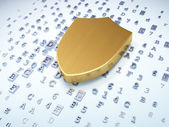 Security concept: golden shield on digital background — Stock Photo