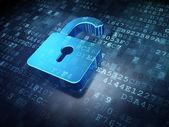 Concepto de seguridad: azul abrió el candado sobre fondo digital — Foto de Stock