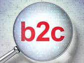 Vetro ottico ingrandente con parole b2c su sfondo digitale — Foto Stock