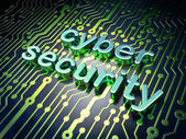 Security concept: circuit board with word cyber security — Stock Photo