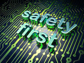 Privacy concept: circuit board with word Safety First — Foto de Stock