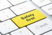 Safety concept: computer keyboard with Safety First — Stock Photo