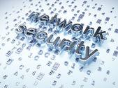 Concetto di sicurezza: protezione della rete d'argento su fondo digitale — Foto Stock
