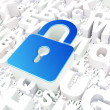 Safety concept: Closed Padlock on alphabet - Stockfoto