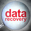 Information concept: optical glass with words Data Recovery - Stock Photo