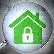 Security concept: optical glass with Home icon - Foto Stock