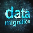 Постер, плакат: Information concept: Data Migration on digital background