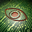 Safety concept: circuit board with Eye icon - Stockfoto