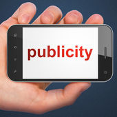Marketing concept: smartphone with Publicity — Stock Photo