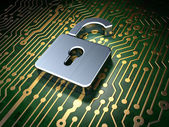 Privacy concept: circuit board with Opened Padlock icon — Stock Photo