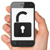 Protection concept: smartphone with Opened Padlock. — Stock Photo