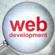 Web development SEO concept: optical glass with words Web Develo - Foto de Stock