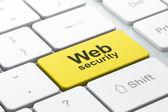 Conceito de Seo de desenvolvimento Web: teclado de computador com segurança na Web — Fotografia Stock