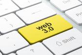 SEO web development concept: computer keyboard with Web 3.0 — Stockfoto