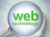 SEO web development concept: optical glass with words Web Techno — Stock Photo
