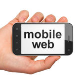SEO web development concept: smartphone with Mobile Web — 图库照片