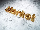 Finance concept: Golden Market on digital background — Stock Photo