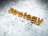 Finance concept: Golden Strategy on digital background — Stock Photo