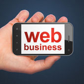 SEO web development concept: smartphone with Web Business — Stock Photo